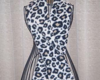 Cheetah Scarf/Muffler faux leopard fleece black fleece liner tan velour liner