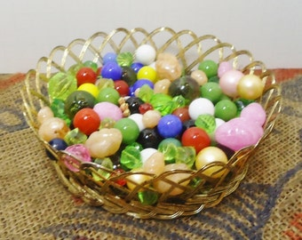 Brass Trinket Bowl Full of Assorted Marbles & Beads