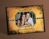 Photo Save the Date Postcards with Antique Parchment Paper Imagery, Custom Photo of the Happy Couple, Perfect for Destination Weddings