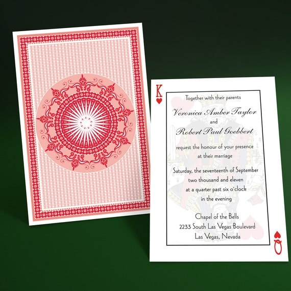 Casino Theme Invitation Suite- Playing Cards Poker Theme Invitations, Vegas Wedding, Also a Great Choice for Poker Themed Parties and Events