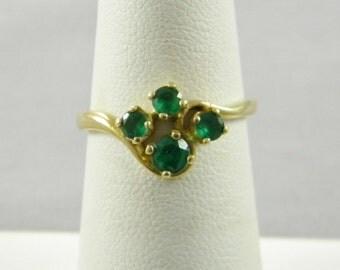 Vintage 14K Yellow Gold Emerld Ring 2.3g Size 6.5 (14)