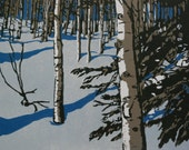 A Silent Pass, a birch forest linocut