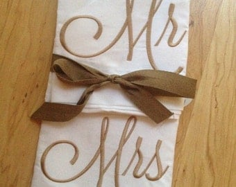 Boutique embroidered Mr and Mrs pillowcases ... Ruffles and Bow Ties