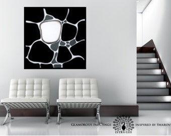 """Abstract painting, black and white painting with Swarovski® """"ALIVE no.8"""""""