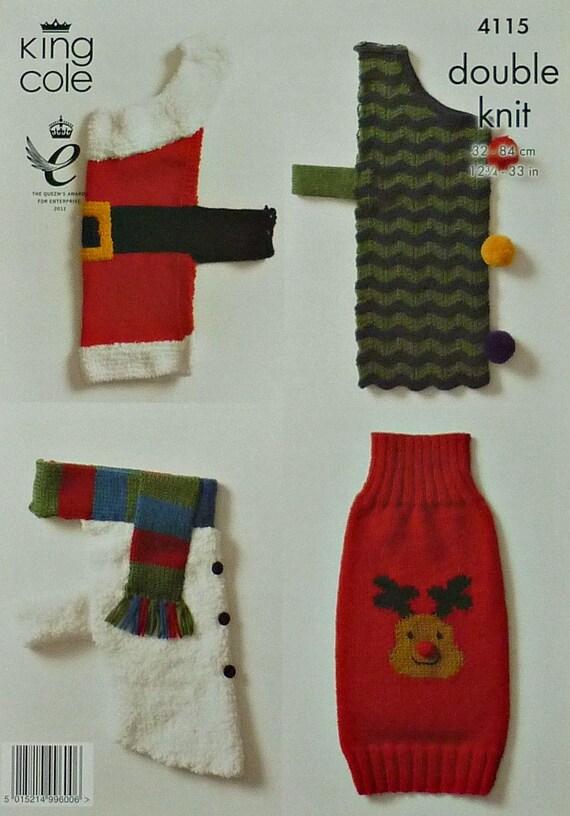 Dog Coat Knitting Pattern K4115 Dogs Christmas Coats 4 Styles