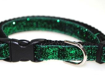 "Metallic Green Glitter - 3/8"" Adjustable Cat Collar"
