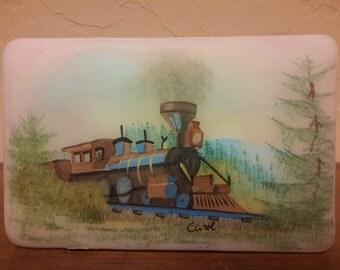 RARE FENTON TRAIN Glass Paperweight Hand Painted Carol Shaffer Ltd Ed. No. 46/5000 Original Sticker Railway Railroad