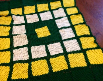 LARGE  Oregon Duck Colors Afghan blanket granny square yellow green white Crocheted Vintage