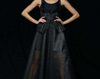 Black Mesh Two Piece Dress