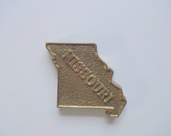 Vintage Brass Missouri State Shaped Paperweight 1960s