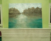 original impressionist painting, abstact landscape, seascape,water, trees, HUGE, 4x3ft, modern, water, vintage charm, interpretive, dreamy,
