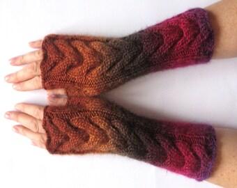 Fingerless Gloves Red Beet Purple Dark Brown Orange Beige wrist warmers