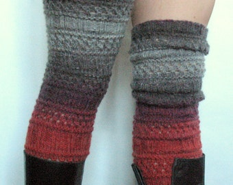 Boot Cuff Boot Toppers Leg Warmers Striped Red Gray Boot Socks Knit Legwarmers Cable Knitted
