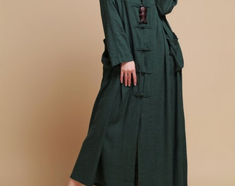 spring Loose fitting Long Maxi dress linen Hooded long sleeved dress