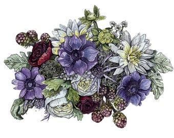 Flowers   Watercolor   Archival Print