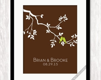 Personalized Wedding Family Tree Love Birds on Branch Print, Couples First Names Wedding Date, Gift for Bride Groom, Wedding Gift