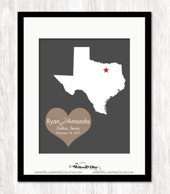 Personalized Wedding Gift Personalized State Map And Heart