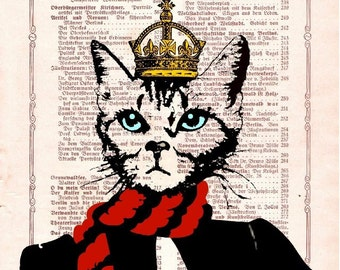 CAT MISS UNIVERSE Cat Dictionary Art Cat Berlin Queen original Giclee Print Poster Mixed Media