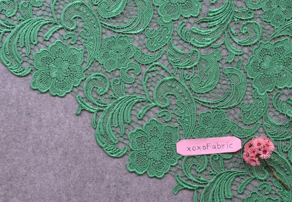 Green Lace Fabric flowers hollowed embroidery wedding lace fashion design