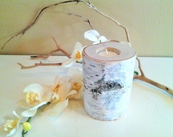 Birch tree branch candle - Birch logs - Rustic wedding candle - Home decor - Birch tree slices