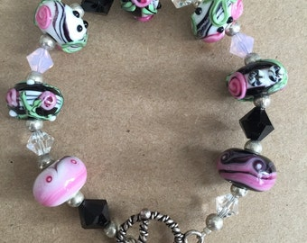 Pink, Black, and White Lampwork Glass Beaded Bracelet with Swarovski Crystal Beads