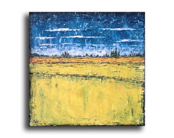 blue yellow acrylic painting abstract painting art painting blue yellow Oil original wall art home office interior bedroom decor canvas Visi