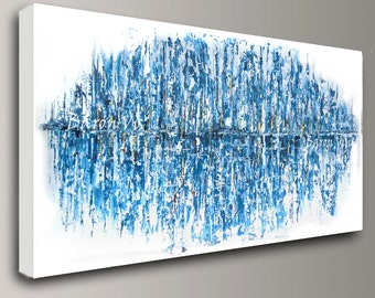 blue abstract Painting acrylic painting art painting white blue wall art home interior decor Original Textured large canvas modern Visi