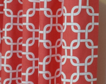 "Curtain Panels 24"" or 50"" x 63, 84, 90, 96 or 108L in Premier Prints Coral Gotcha"