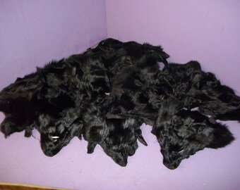 real animal fur tanned dyed black fox face head taxidermy skin pelt hide parts