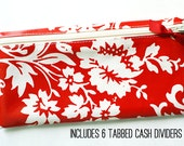 Envelope system wallet in red and cream | 6 tabbed cash dividers | designer laminated cotton