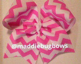 Pink and White Chevron Cheer Bow
