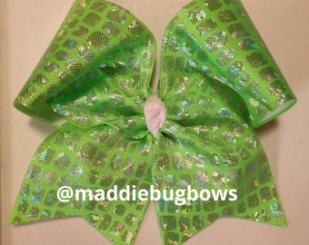 Lime Green Shattered Glass Cheer Bow
