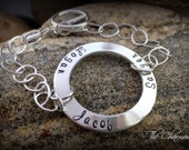 Family Name Bracelet - Hand Stamped Sterling Silver - Personalized Family Jewelry - Trendy Minimalist Bracelet
