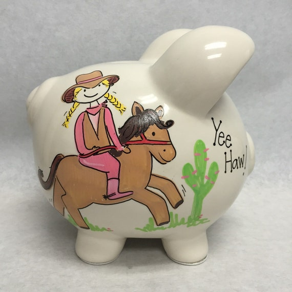 Personalized Piggy Bank Yee Haw Cowgirl
