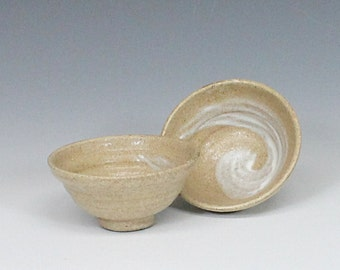 Ceramic Tea Set of Two, Handmade Yunomi, Stoneware Teacups,