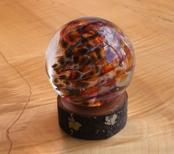 Large Glass Marble and Cherry Stand by Jonathan Winfisky - Paperweight