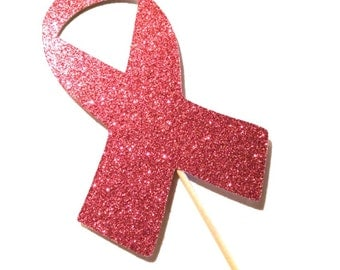 Photo Booth Props - Pink Ribbon Prop - Breast Cancer Awareness - Pink Glitter - Think Pink