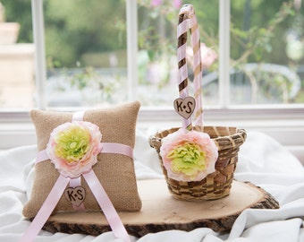 Ring bearer pillow &  rustic flower girl basket You personalize with choice of flower