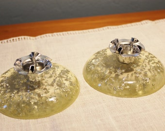 Vintage Clear Acrylic Candlestick Candle Holders Silver Flakes