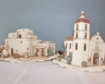 Burwood Products 3 D Spanish Mission Church Adobe House Southwest Wall Art