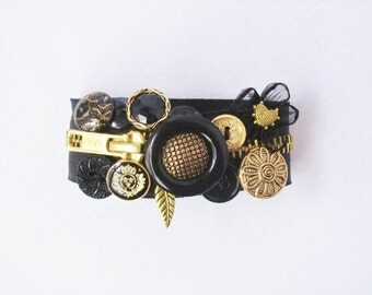 Black and Antique Gold Zipper Bracelet