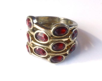 Ruby Red Rhinestone Ring Retro Madmen Fashion Jewelry Accessory