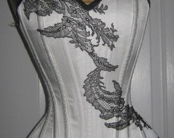 "White silk satin overbust corset with black lace applique (20"" waist)"