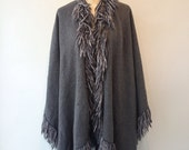 SOFT Grey WRAP Fringed SHAWL Poncho