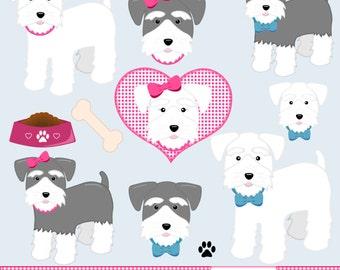 Miniature Schnauzer Dog Clip Art Set - Dog Digital Art - Dog Graphics - Miniature Schnauzer Art - Instant Download