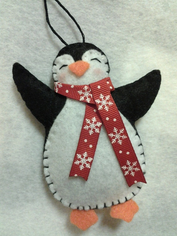 Felt penguin ornament felt penguin christmas by - How to make felt christmas decorations ...
