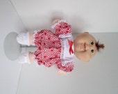 "11"" Newborn Cabbage Patch Red Heart Print Dress Set"