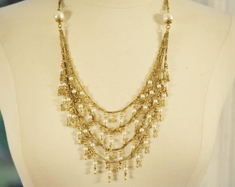 SALE Handmade Vintage Brass Drop and Faux Pearl Multi Strand Necklace