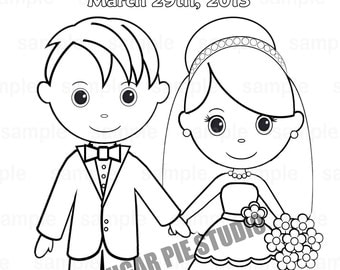 Printable Personalized Wedding coloring activity book  Favor Kids 8.5 x 11  PDF or JPEG TEMPLATE