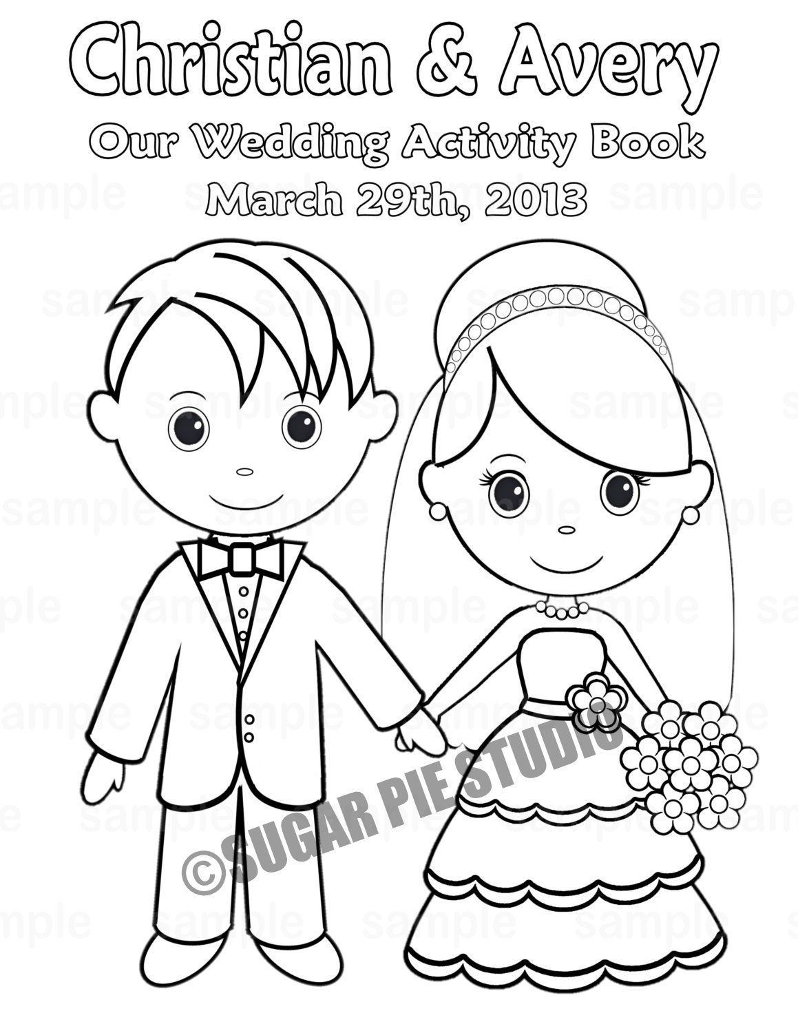 Printable personalized wedding coloring activity book favor for Wedding anniversary coloring pages